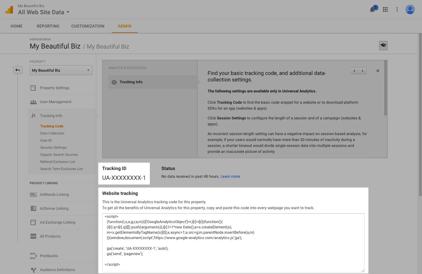 مراحل نصب گوگل آنالیتیکس